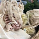 Vrecká zo sieťovanej organickej bavlny 3ks - Naturálne