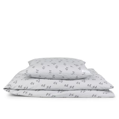 JUNIOR posteľná bielizeň - Lietadielka a sivá
